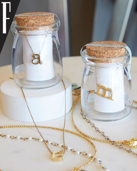 "Gold Lowercase Initial Charm on 16"" Gold Chain"