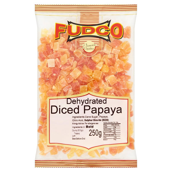 Fudco Dehydrated Diced Papaya 250g - ExoticEstore