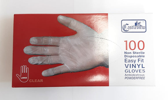 Castleview Non Sterile Disposable Easy Fit Vinyl Gloves Large 100pc