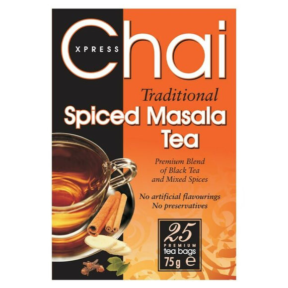 Express Chai Traditional Spiced Masala Tea 25 Tea Bags