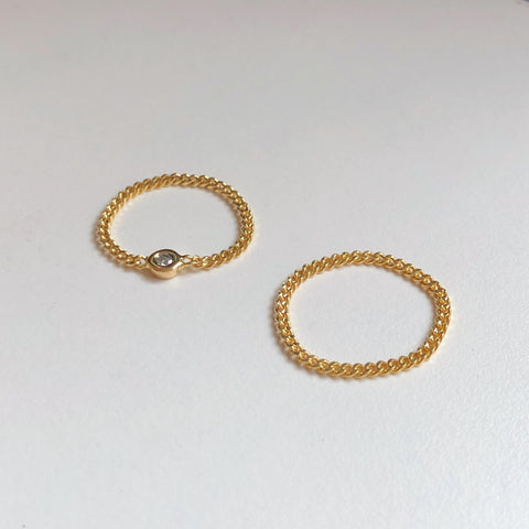 Petite Cuban Chain Ring, Solid 18k Gold | MM x Kimi