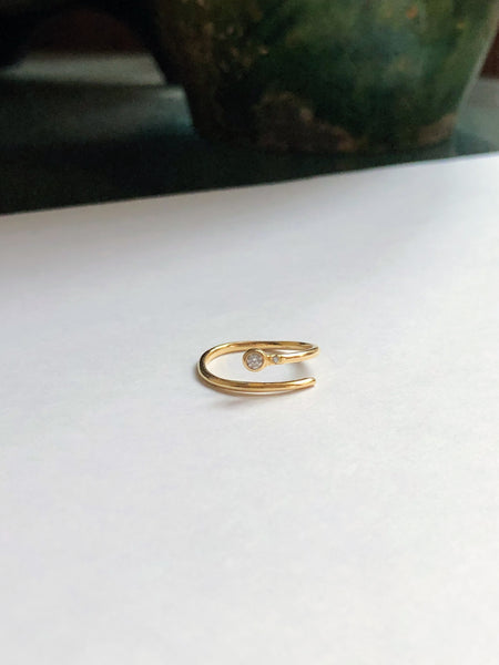 Adjustable Diamond Ring, Solid 14k Gold