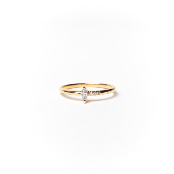 Slim Ring with Marquise and Round Diamonds, Solid 14k Gold | LIMITED