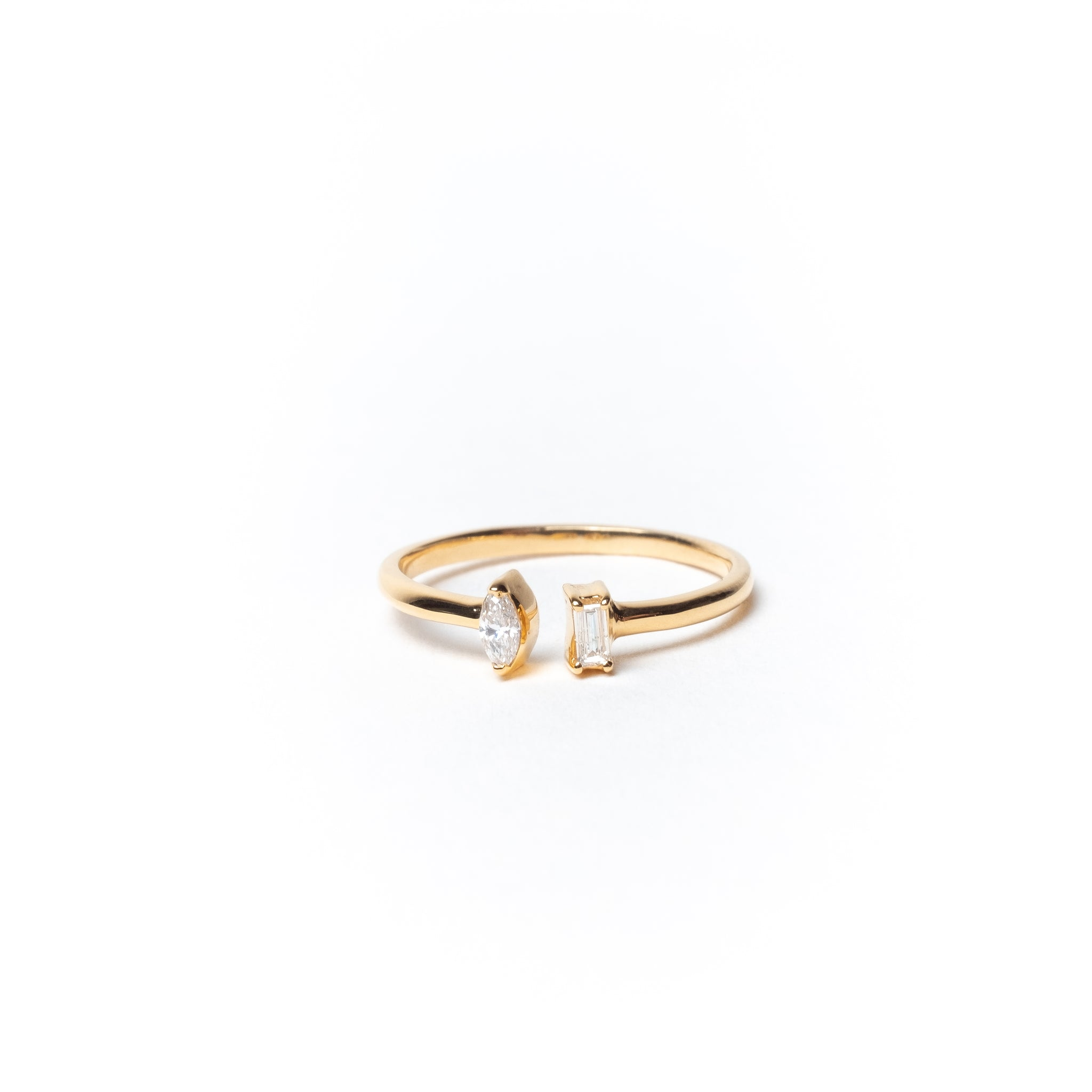 Open Ring with Marquise and Baguette Diamonds, Solid 14k Gold | LIMITED (5068193529900)