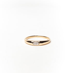 Slim Tapered Signet Ring with Marquise Diamond, Solid 14k Gold | LIMITED (5068192645164)