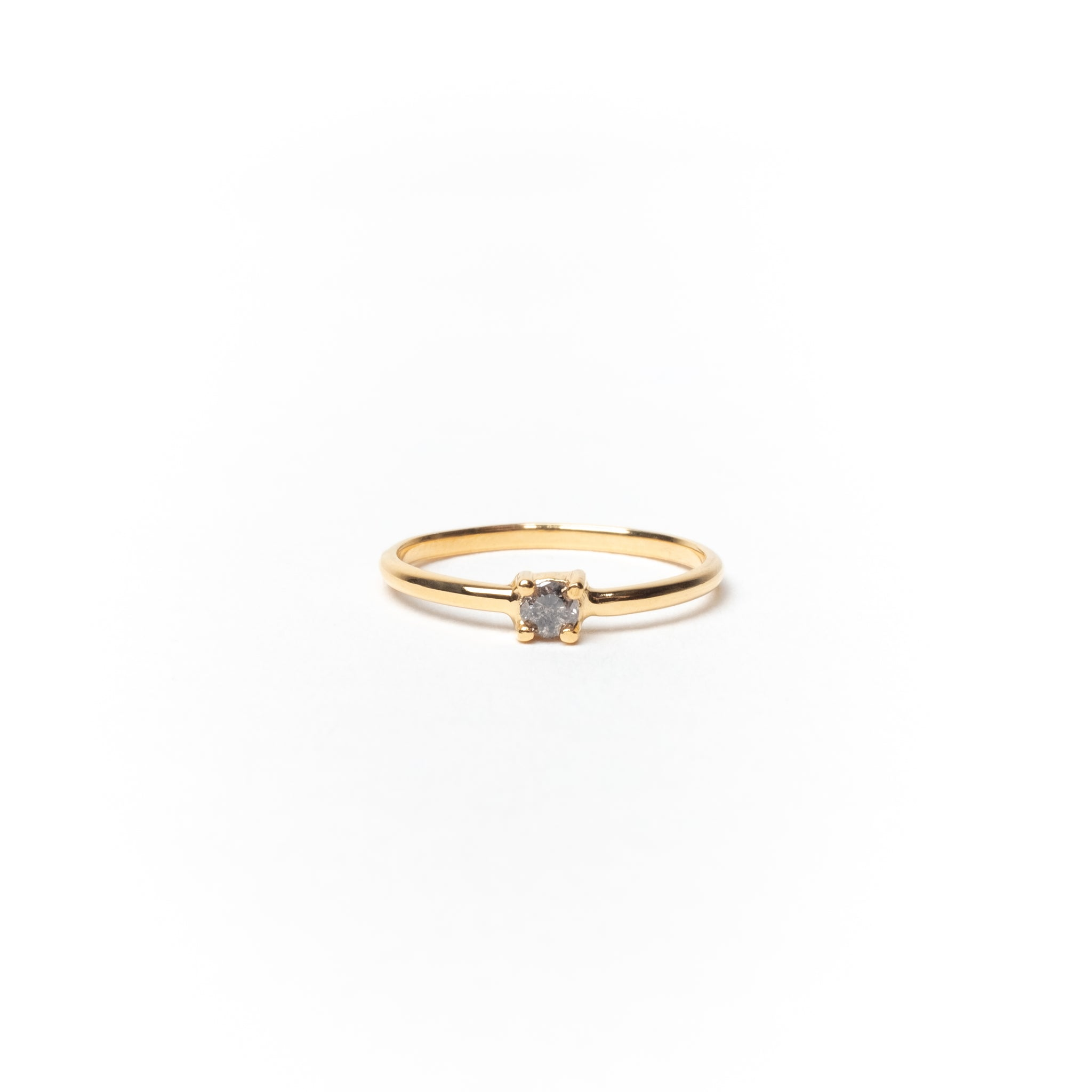 Ring with Round Salt & Pepper Diamond, Solid 14k Gold | FEW-OF-A-KIND