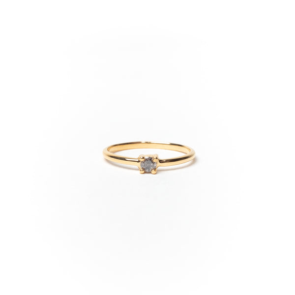 Ring with Round Salt & Pepper Diamond, Solid 14k Gold | FEW-OF-A-KIND (5068192383020)