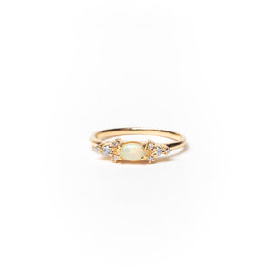 Marquise Stone and Round Diamonds Ring, Solid 14k Gold