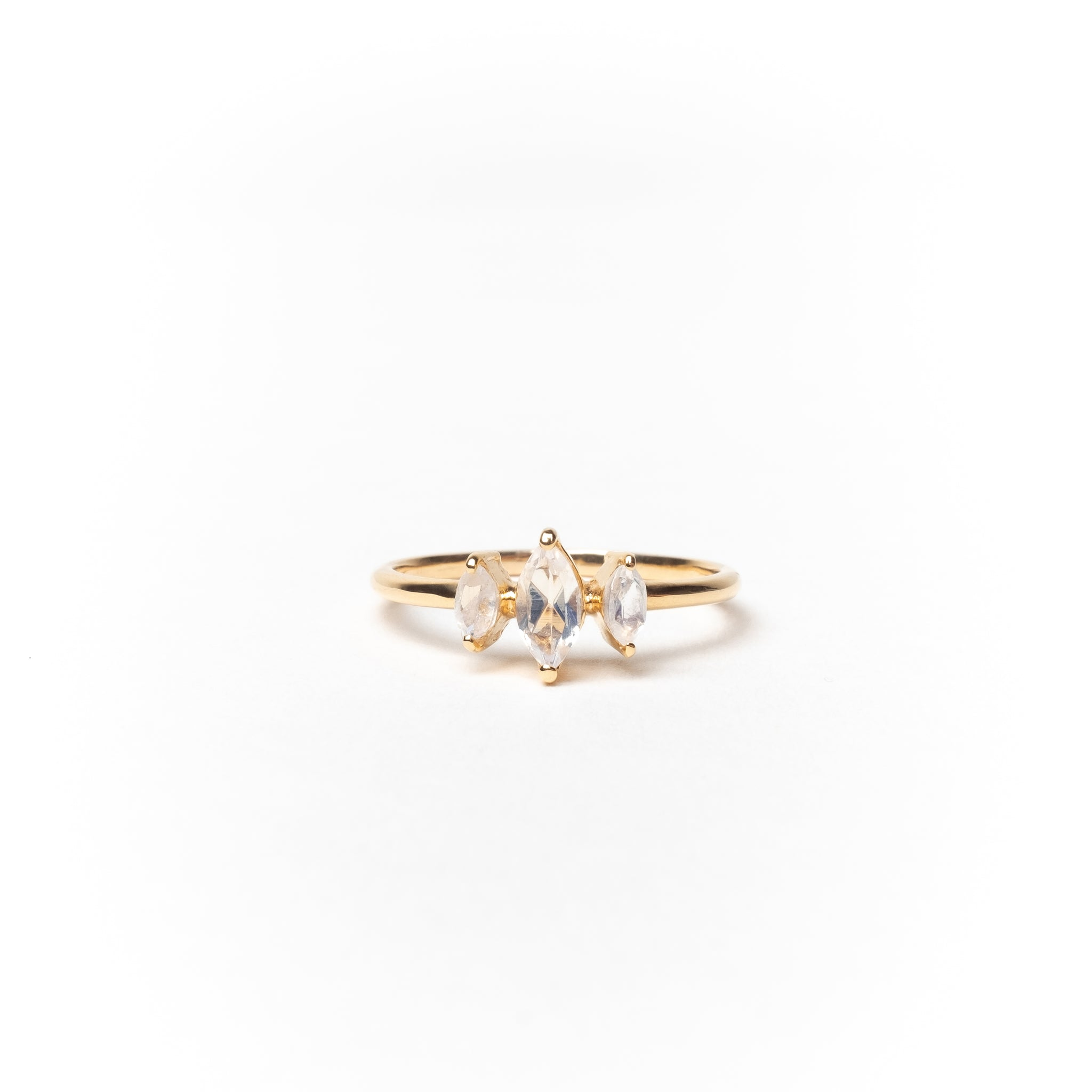 Three Marquise Stones Ring, Solid 14k Gold