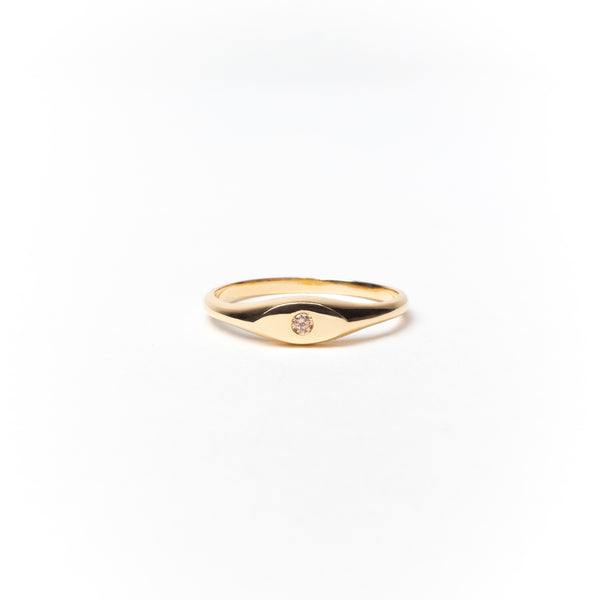 Birthstone Signet Ring, Solid 14k Gold