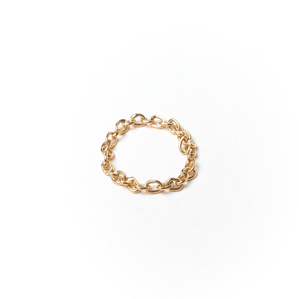 Medium Link Chain Ring, Solid 14k Gold