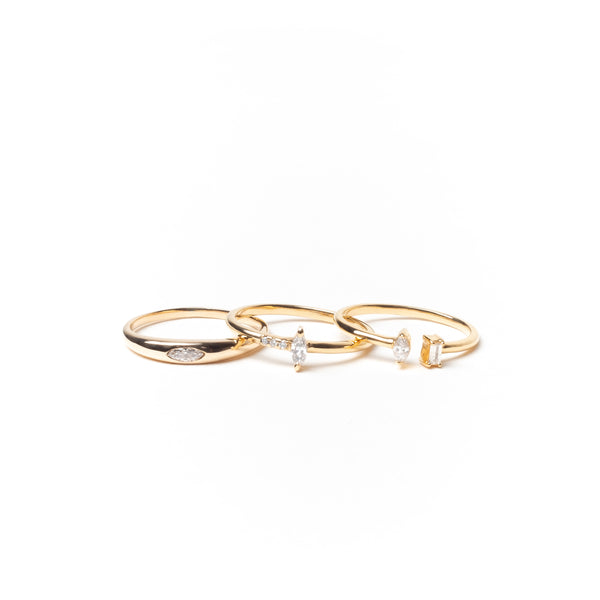 Open Ring with Marquise and Baguette Diamonds, Solid 14k Gold | LIMITED