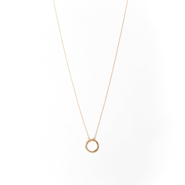 Circle Necklace, Solid 18k Gold
