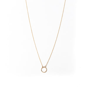 Mini Karma Ring Necklace, Solid 18k Gold