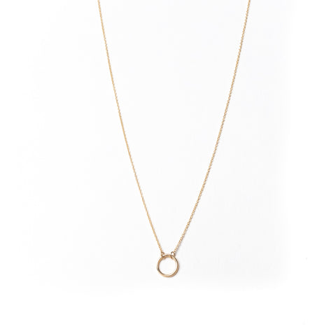 Mini Circle Necklace, Solid 18k Gold (5275505360940)