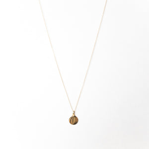 Disc Pendant Necklace, Solid Gold, Free Engraving