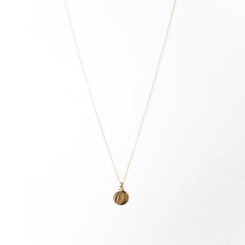 Disc Pendant Necklace, Solid Gold, Free Engraving (5275507851308)