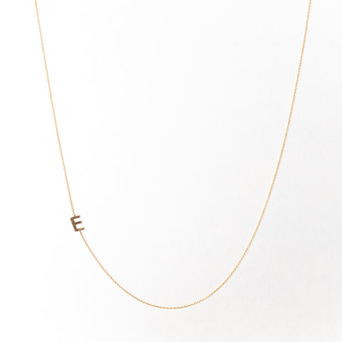 Slanted Mini Initial Necklace, Solid 18k Gold