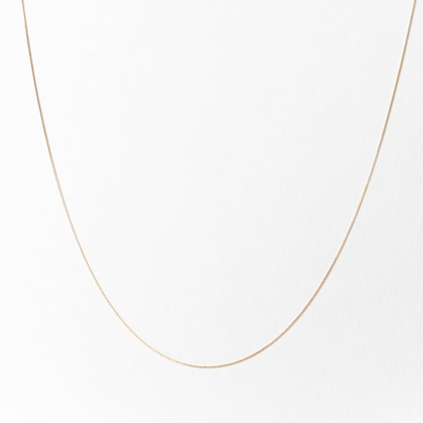 Everyday Thin Box Chain Necklace, Solid 18k Gold