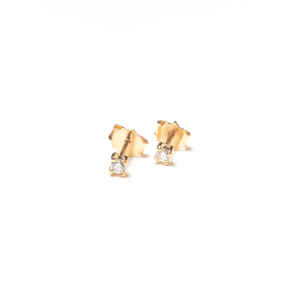 Diamond Stud Earrings, Solid 14k Gold, Single / Pair
