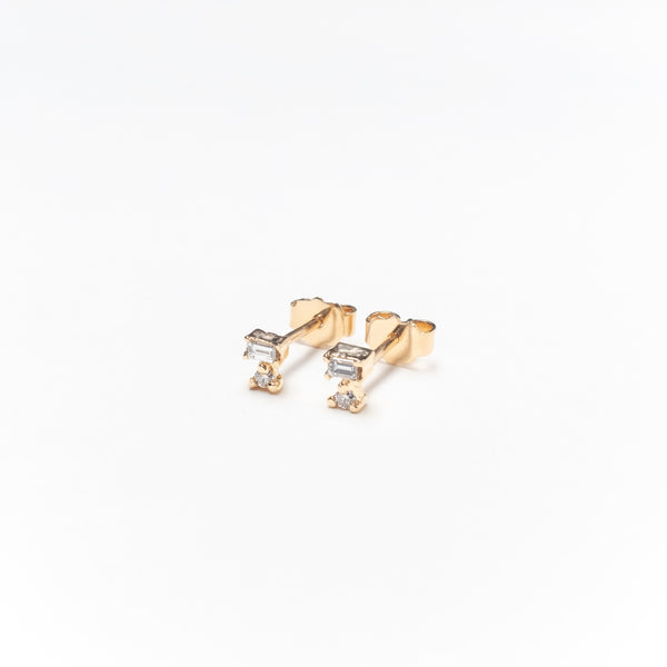 Double Diamond Stud Earrings, Solid 14k Gold, Single / Pair (5275517812780)
