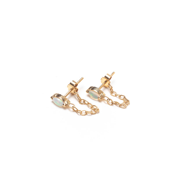 Marquise Stone and Chain Hoop Earrings, Solid 14k Gold, Single / Pair