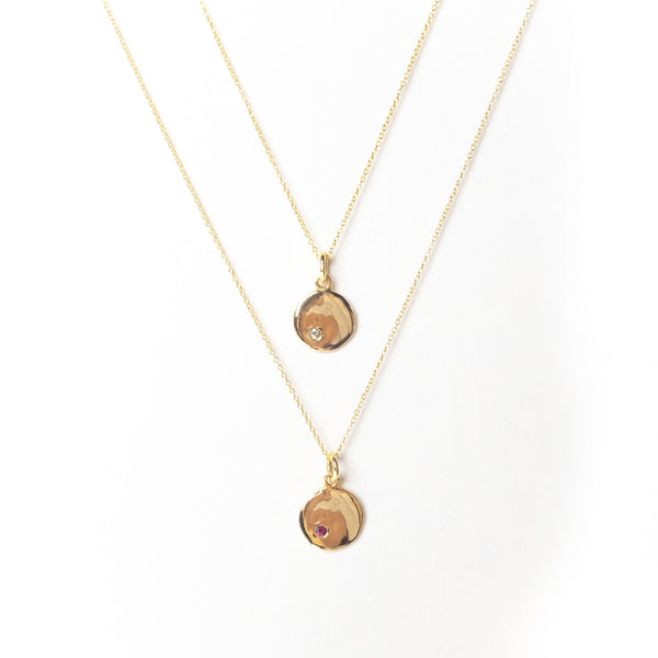 Mini Disc with Birthstone Pendant Necklace, Solid Gold