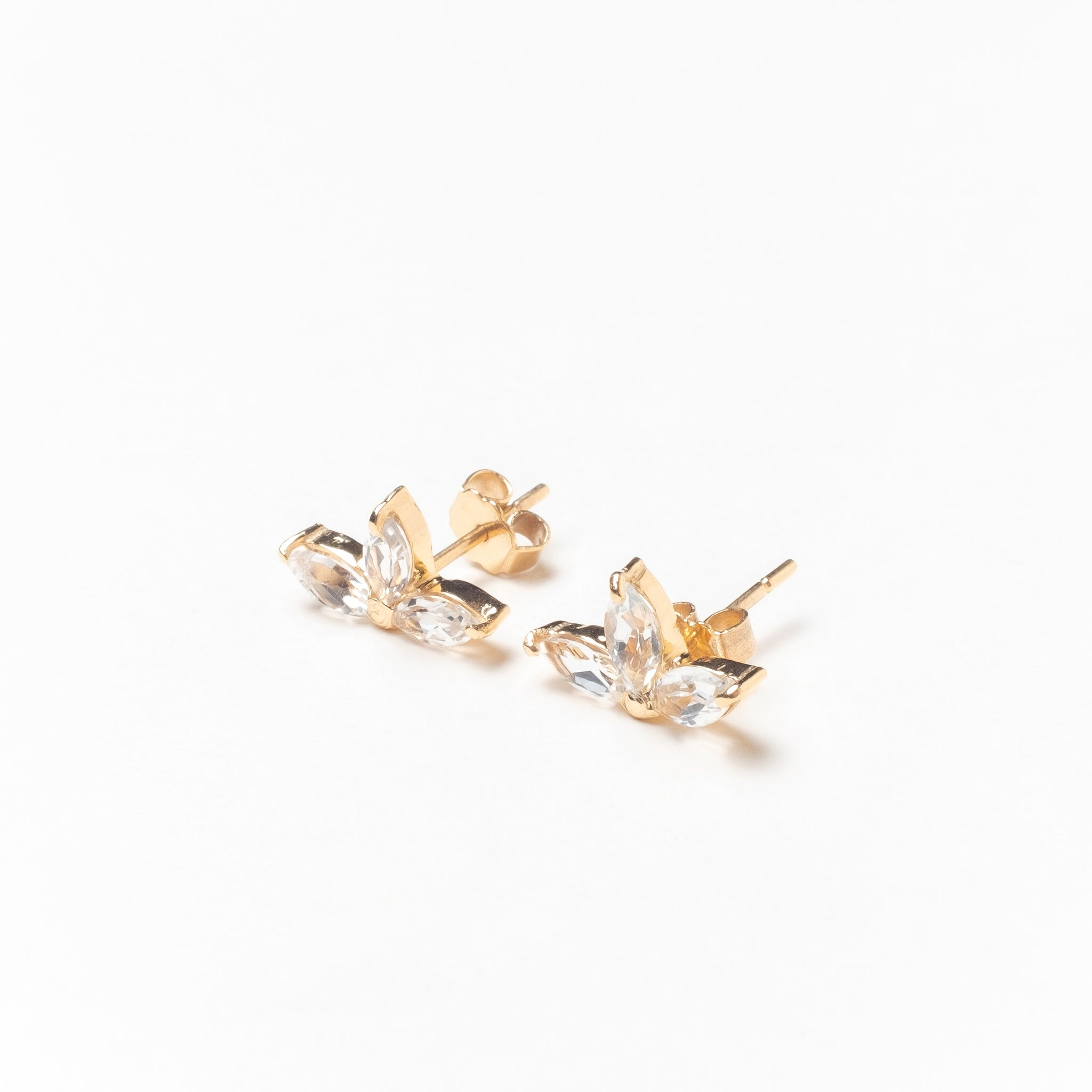 Trio of Marquise Stones Stud Earrings, Solid 14k Gold, Single / Pair (5275519385644)