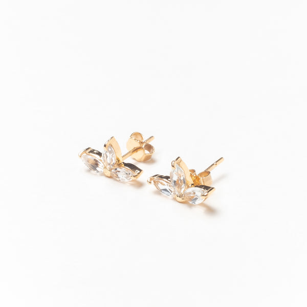 Trio of Marquise Stones Stud Earrings, Solid 14k Gold, Single / Pair