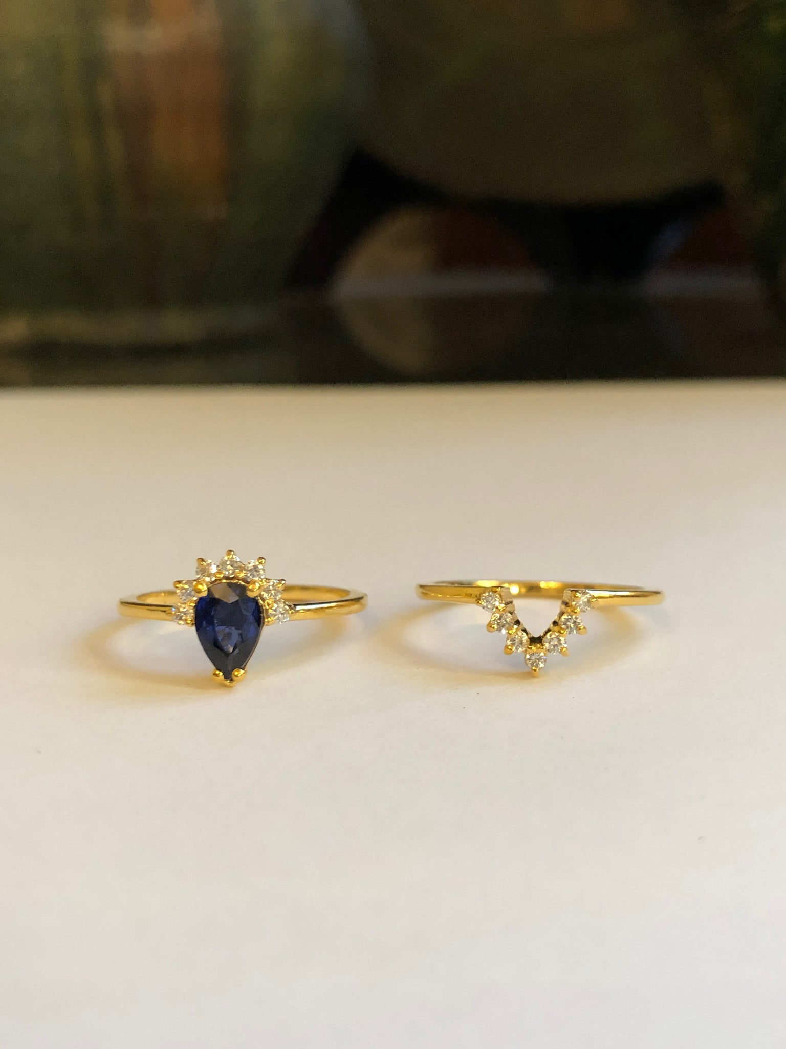 Stackable Rings with Pear-Shaped Sapphire and Round Diamonds, Solid 14k Gold (5396979744812)