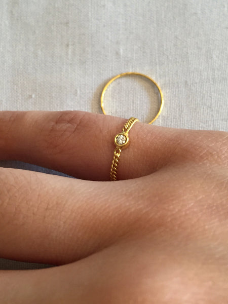 Petite Cuban Chain Ring with Diamond, Solid 18k Gold | MM x Kimi