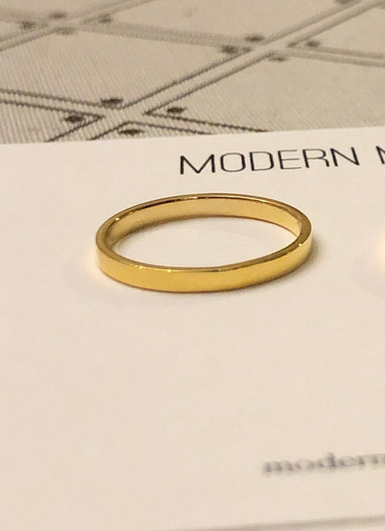 Thin Band Ring, Solid 14k Gold
