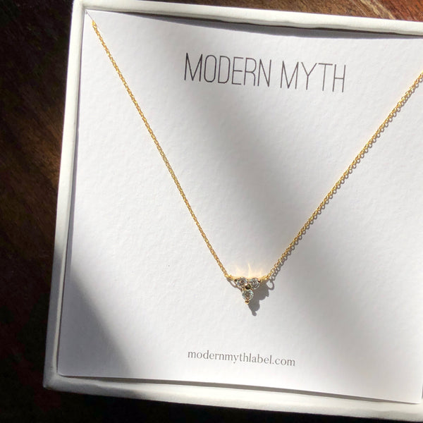 Trio of Diamonds Necklace, Solid 18k Gold (5395354386476)