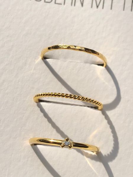Tiny Diamond Ring, Solid 14k Gold