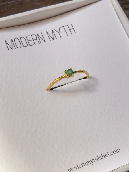 Slim Twig Texture Ring with Round Emerald or Sapphire, Solid 14k Gold (5395355828268)