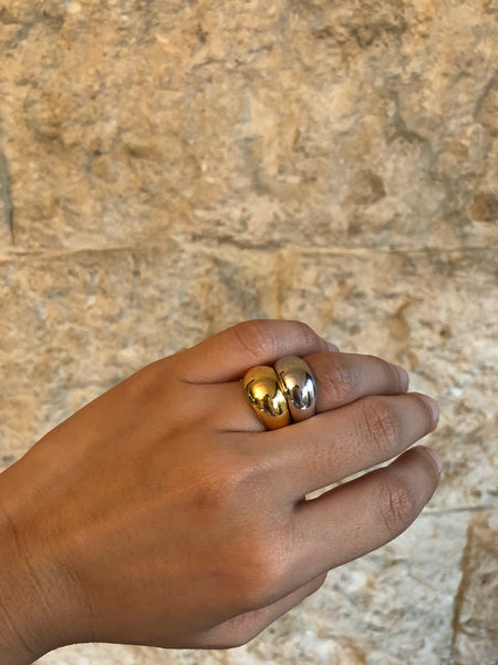 Soft Chunky Ring, Solid 14k Gold / Gold / Silver