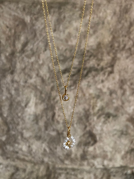 Pearl and Gold Flower Pendant Necklace, Solid Gold (5068196184108)