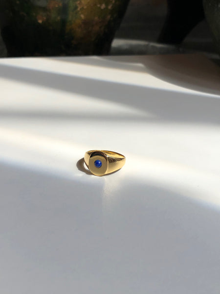 Mini Oval Signet Ring with Stone, Solid 14k Gold (5395203096620)