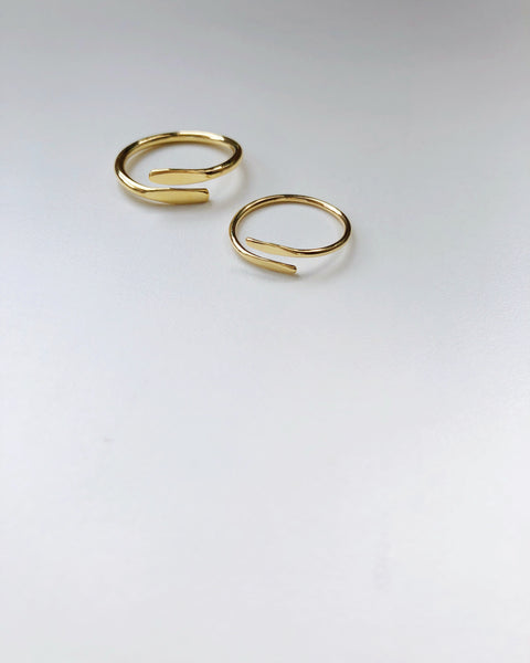 Overlap Ring, Solid 14k Gold / Gold / Silver (5068213682220)