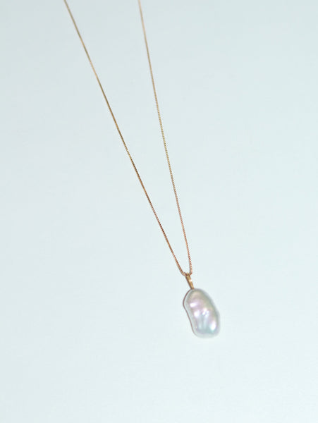 Freshwater Keshi Pearl Pendant Necklace, Solid Gold