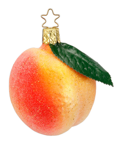 Peach Glass Ornament by Inge Glas of Germany