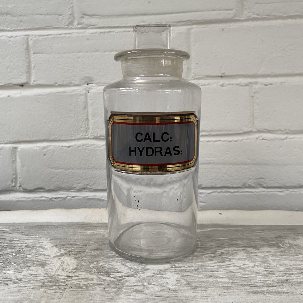 Antique Apothecary Bottle with Stopper - Calc Hydras