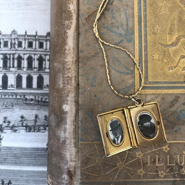 Antique Gold Plated Book Locket and Chain