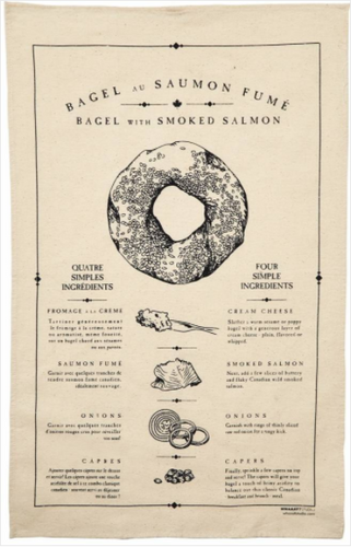 Bagel with Smoked Salmon Tea Towel