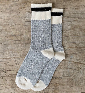 Black Striped Grey Body Cotton Socks Made in Toronto