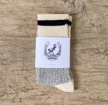 Load image into Gallery viewer, Black Striped Grey Body Cotton Socks Made in Toronto