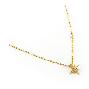 Starburst Gold Plated CZ Necklace