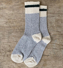 Load image into Gallery viewer, Green Striped Grey Body Cotton Socks Made in Toronto