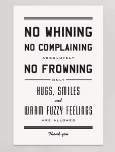 No Whining Letterpress Print