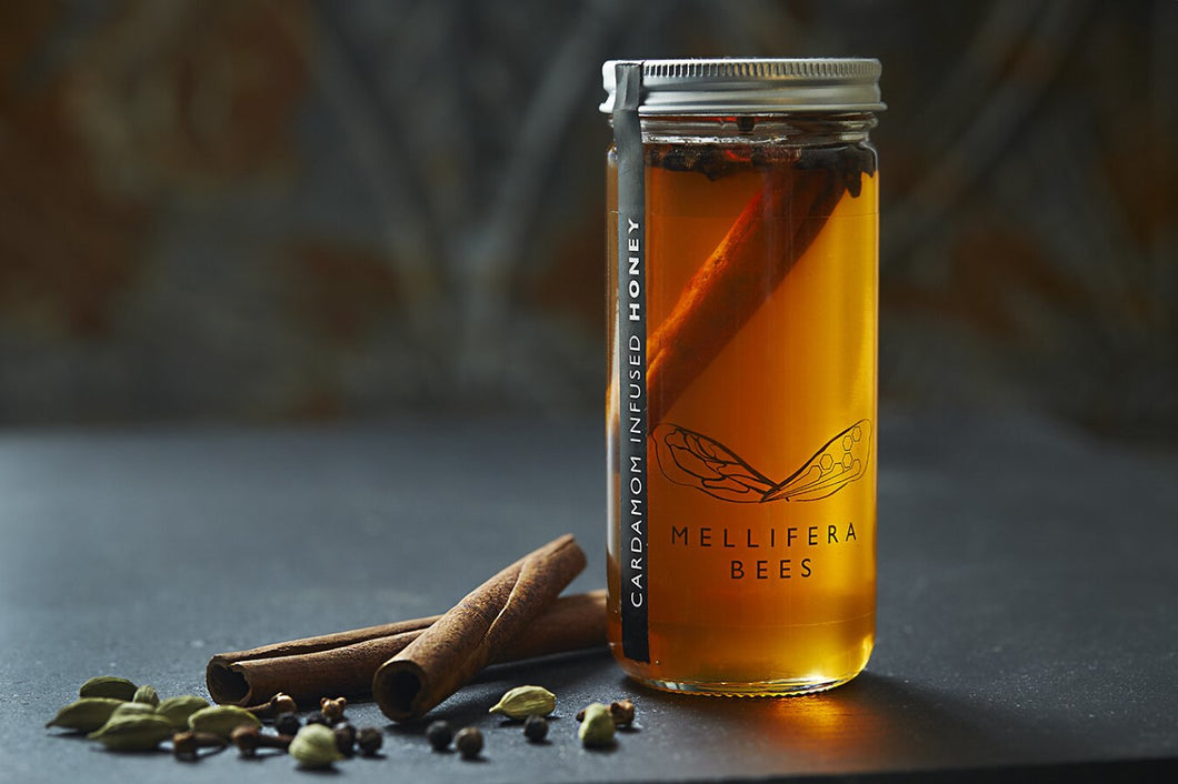 Mellifera Bees Cardamom Infused Honey 8oz Bottle Made in British Columbia